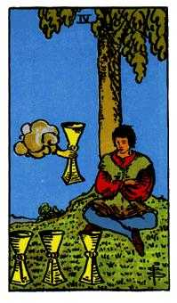 Four of Cups Tarot Card - Rider Waite Tarot Deck