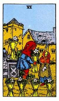 Six of Cauldrons Tarot Card - Rider Waite Tarot Deck