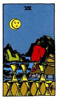 Eight of Hearts Tarot Card - Rider Waite Tarot Deck