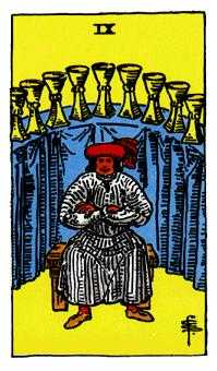 Nine of Bowls Tarot Card - Rider Waite Tarot Deck
