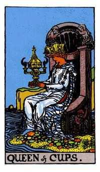 Queen of Bowls Tarot Card - Rider Waite Tarot Deck