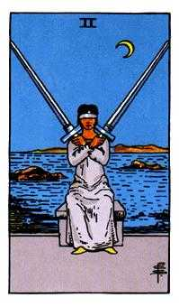 Two of Arrows Tarot Card - Rider Waite Tarot Deck