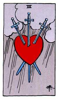 Three of Swords Tarot Card - Rider Waite Tarot Deck