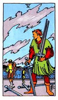 Five of Wind Tarot Card - Rider Waite Tarot Deck