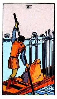 Six of Swords Tarot Card - Rider Waite Tarot Deck