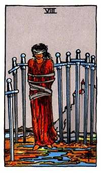 Eight of Swords Tarot Card - Rider Waite Tarot Deck