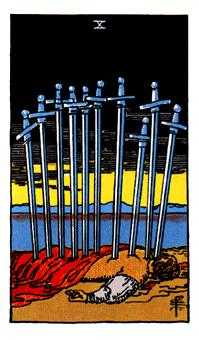 Ten of Arrows Tarot Card - Rider Waite Tarot Deck
