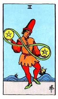 Two of Diamonds Tarot Card - Rider Waite Tarot Deck