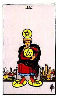 Four of Coins Tarot Card - Rider Waite Tarot Deck