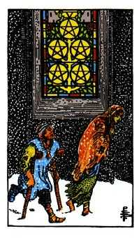 Five of Earth Tarot Card - Rider Waite Tarot Deck
