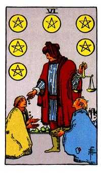 Six of Pentacles Tarot Card - Rider Waite Tarot Deck