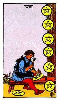 Eight of Pentacles Tarot Card - Rider Waite Tarot Deck