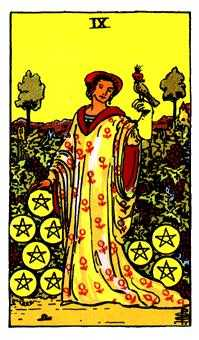 Nine of Pentacles Tarot Card - Rider Waite Tarot Deck