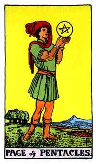 Page of Diamonds Tarot Card - Rider Waite Tarot Deck