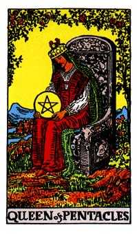 Queen of Coins Tarot Card - Rider Waite Tarot Deck
