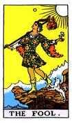 The Fool Tarot card in Rider Waite deck