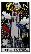 The Tower Tarot card in Rider Waite Tarot deck