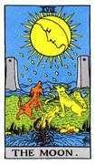The Moon Tarot card in Rider Waite Tarot deck