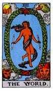 The World Tarot card in Rider Waite Tarot deck