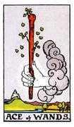 Ace of Wands Tarot card in Rider Waite deck