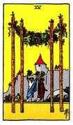 Four of Wands Tarot card in Rider Waite deck