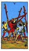 Five of Wands Tarot card in Rider Waite deck