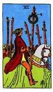 Six of Wands Tarot card in Rider Waite deck