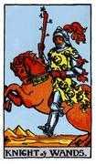 Knight of Wands Tarot card in Rider Waite deck