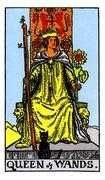 Queen of Wands Tarot card in Rider Waite Tarot deck