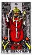 The Hierophant Tarot card in Rider Waite deck