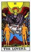 The Lovers Tarot card in Rider Waite Tarot deck
