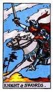 Knight of Swords Tarot card in Rider Waite Tarot deck