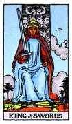 King of Swords Tarot card in Rider Waite Tarot deck