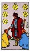 Six of Coins Tarot card in Rider Waite Tarot deck