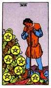 Seven of Coins Tarot card in Rider Waite Tarot deck