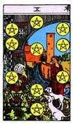 Ten of Coins Tarot card in Rider Waite Tarot deck
