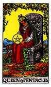Queen of Coins Tarot card in Rider Waite Tarot deck