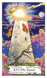 The Blasted Tower Tarot Card - Hanson Roberts Tarot Deck