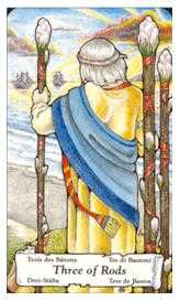 Three of Rods Tarot Card - Hanson Roberts Tarot Deck