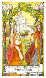 Four of Staves Tarot Card - Hanson Roberts Tarot Deck