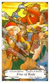 Five of Batons Tarot Card - Hanson Roberts Tarot Deck