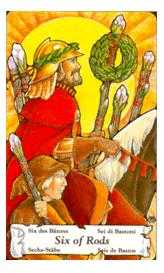 Six of Rods Tarot Card - Hanson Roberts Tarot Deck