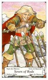Seven of Staves Tarot Card - Hanson Roberts Tarot Deck