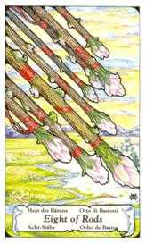 Eight of Staves Tarot Card - Hanson Roberts Tarot Deck