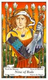 Nine of Staves Tarot Card - Hanson Roberts Tarot Deck