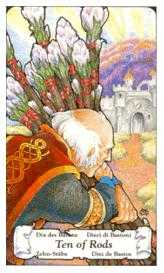 Ten of Staves Tarot Card - Hanson Roberts Tarot Deck