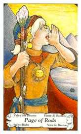 Princess of Staves Tarot Card - Hanson Roberts Tarot Deck