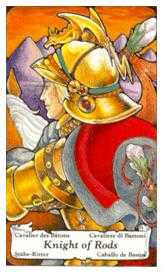 Knight of Rods Tarot Card - Hanson Roberts Tarot Deck