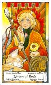Queen of Rods Tarot Card - Hanson Roberts Tarot Deck