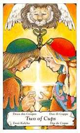 Two of Hearts Tarot Card - Hanson Roberts Tarot Deck